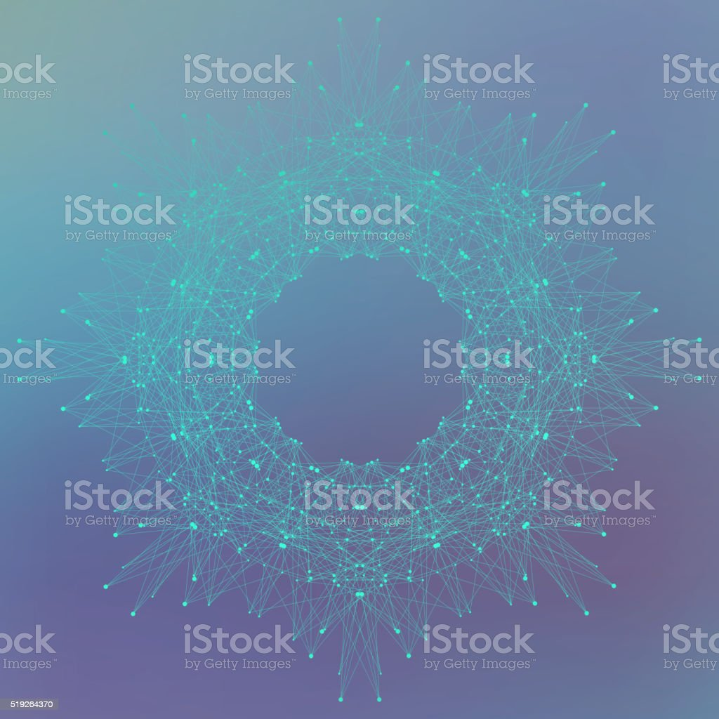 Geometric abstract form with connected lines and dots. Vector illustration vector art illustration