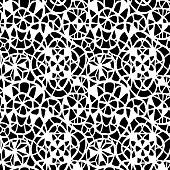 Geometric abstract seamless pattern. Black and white stained glass window illustration. Lace background for textile, fabric, wrapping, carpet, wallpaper, postcard.