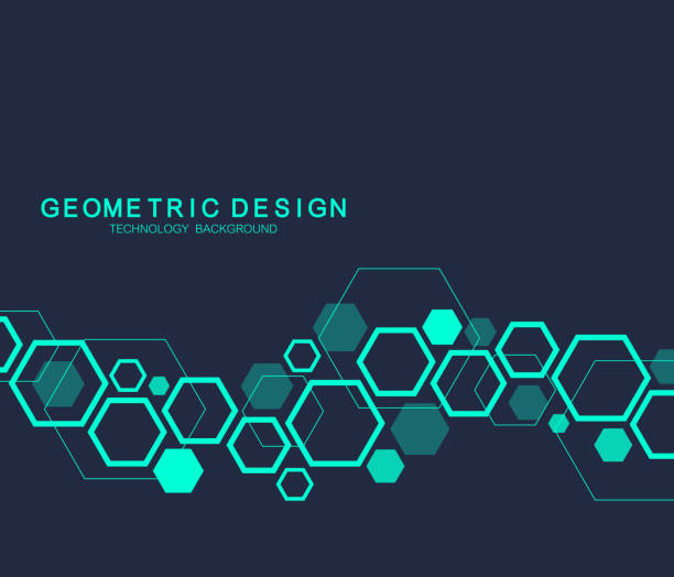 Geometric abstract molecule background for medicine, science, technology, chemistry. Scientific DNA molecule concept. Vector hexagonal illustration Geometric abstract molecule background for medicine, science, technology, chemistry. Scientific DNA molecule concept. Vector hexagonal illustration hexagon stock illustrations