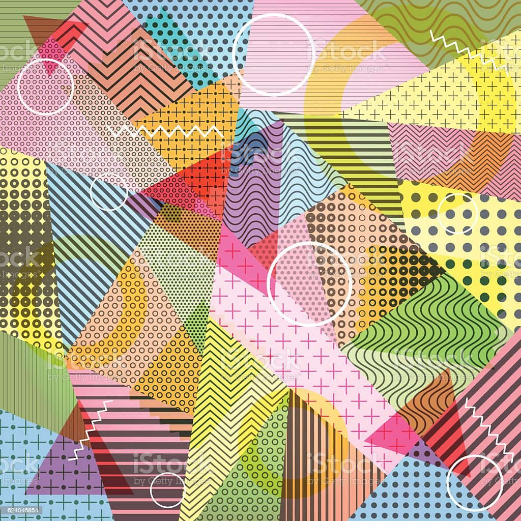 Geometric Abstract Pattern With Textured Shapes Design