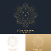 Geometric abstract round form with connected line and dots. Graphic composition for medicine, science, technology , chemistry. Golden cybernetic dots. Lines plexus. Card surface. Vector Logo Template