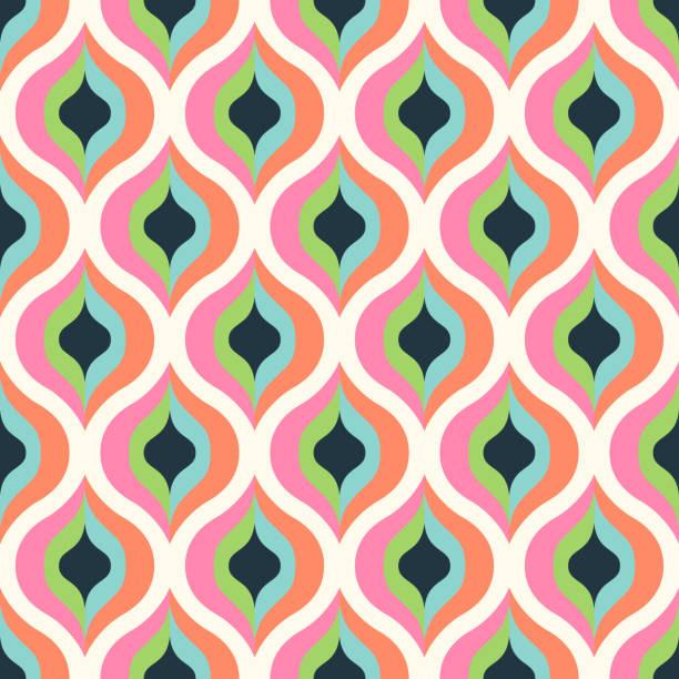 stockillustraties, clipart, cartoons en iconen met geometrisch abstracte naadloze patroon achtergrond. kleurrijke vormen van krommen en golven. vierkante samenstelling, moderne trend ontwerp - seventies