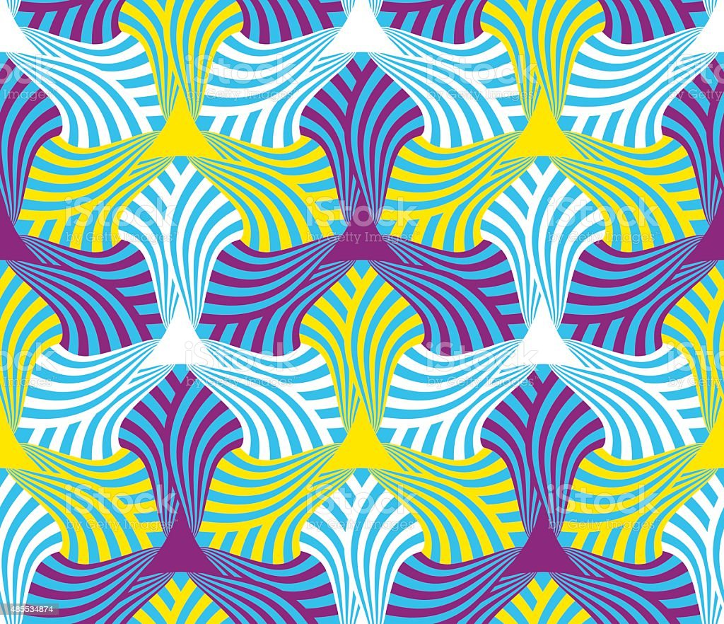 Geometric abstract seamless pattern motif background. Colorful hexagonal shapes composition vector art illustration
