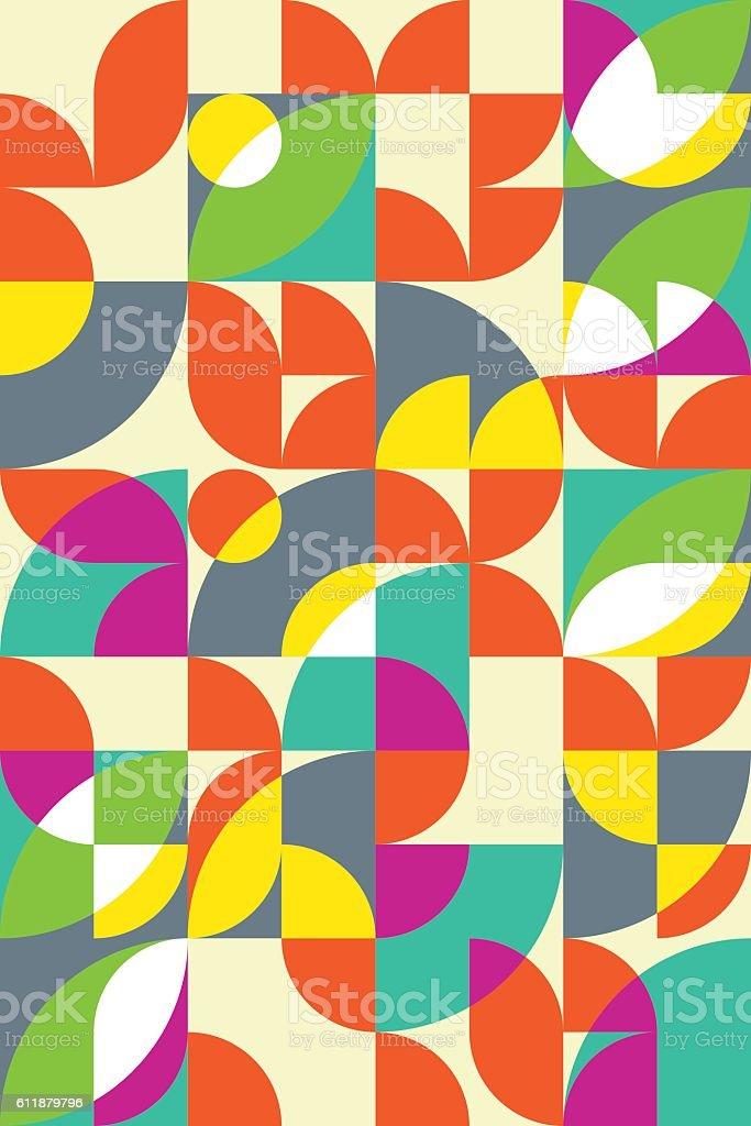 Geometric abstract seamless pattern motif background of circles, semicircles, leaves vector art illustration