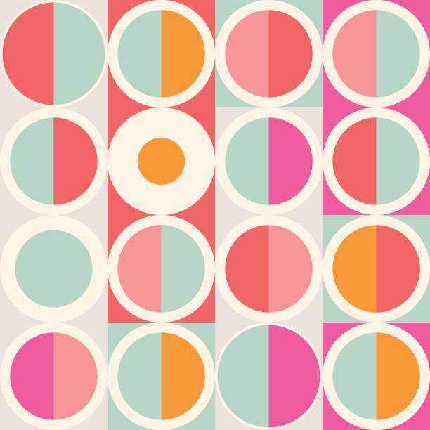 geometric abstract seamless pattern. simple motif background. colorful decoration design. - 1960s style stock illustrations, clip art, cartoons, & icons