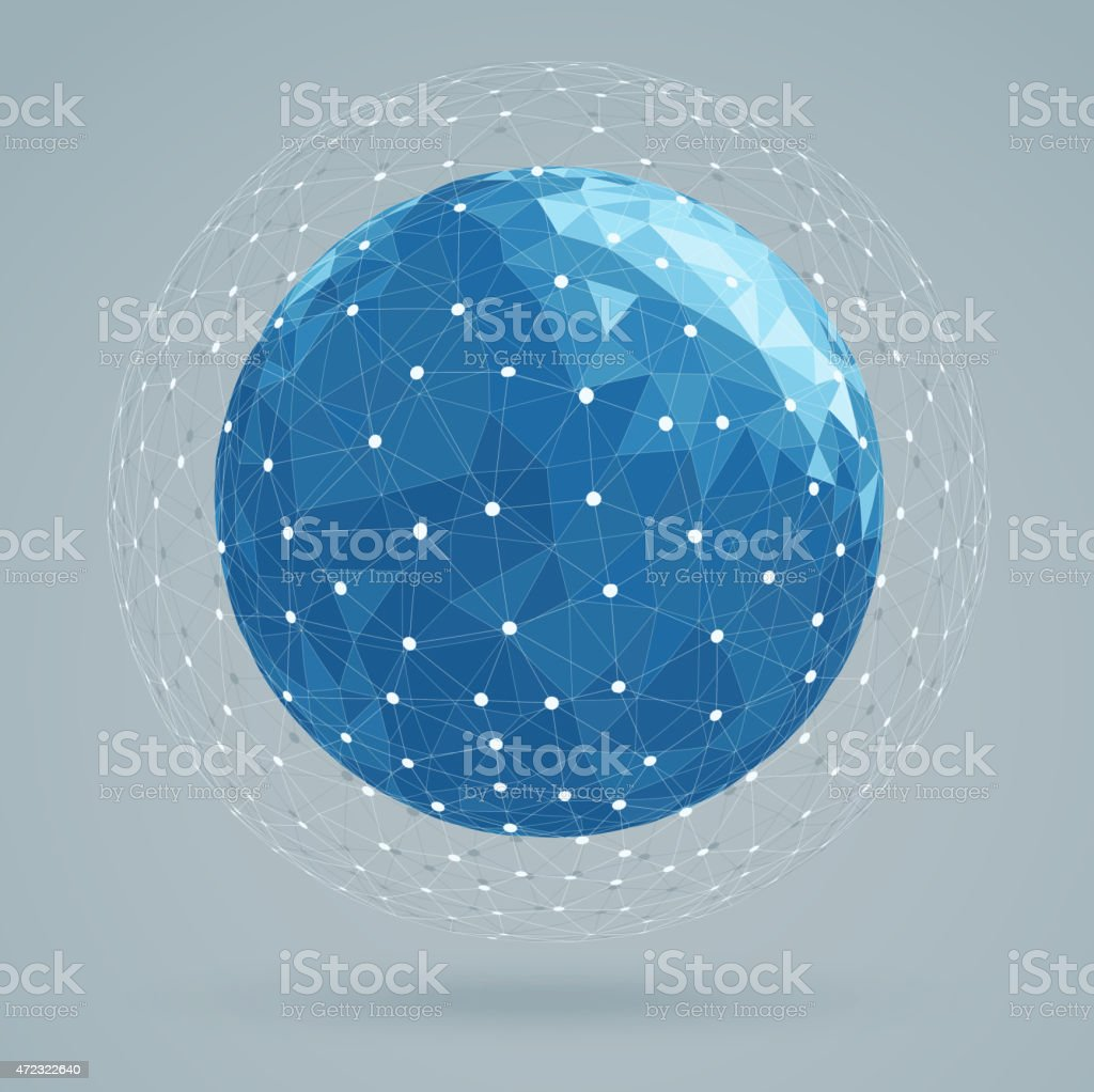 Geometric abstract structure blue colors, mesh white color vector art illustration
