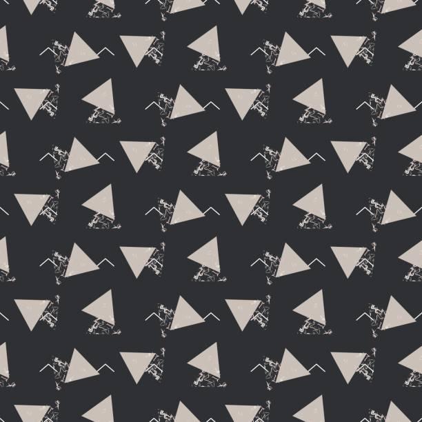 geometrische abstrakte dreieck nahtlose dunkel grau vektor textur - granitplatten stock-grafiken, -clipart, -cartoons und -symbole