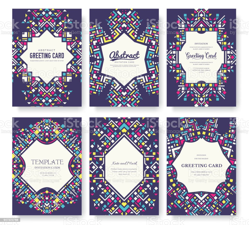 Geometric Abstract Vector Brochure Cards Set Ethnic Style Template