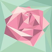 Geometric abstract volume pink rose. Polygonal