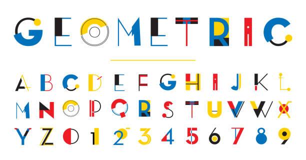 ilustraciones, imágenes clip art, dibujos animados e iconos de stock de alfabeto geométrico - font