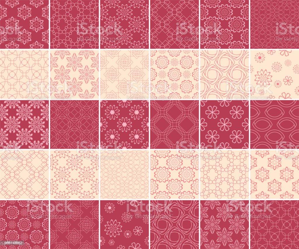 Geometriska och blommiga samling av sömlösa mönster. Cherry röda och beige bakgrunder - Royaltyfri Beige vektorgrafik