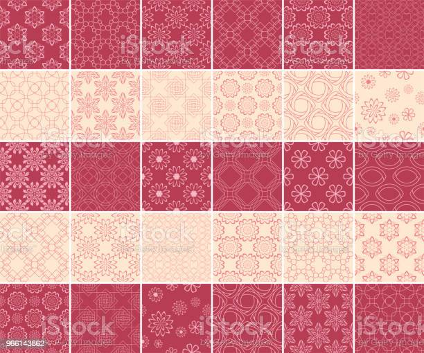 Geometric And Floral Collection Of Seamless Patterns Cherry Red And Beige Backgrounds — стоковая векторная графика и другие изображения на тему Бежевый