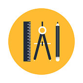 Geometric and Precision tools icon. Ruler , compass and pencil vector illustration.