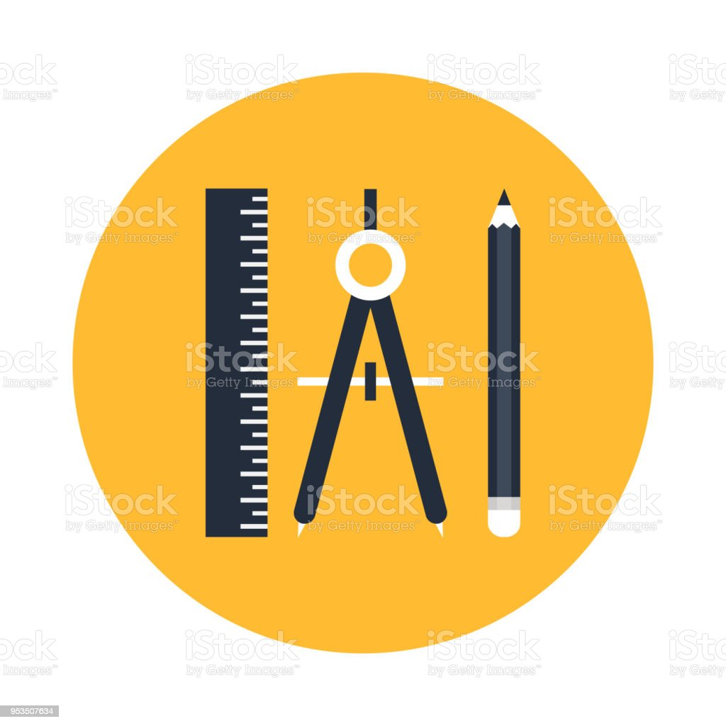 Geometric and Precision tools icon. Ruler , compass and pencil vector illustration. vector art illustration