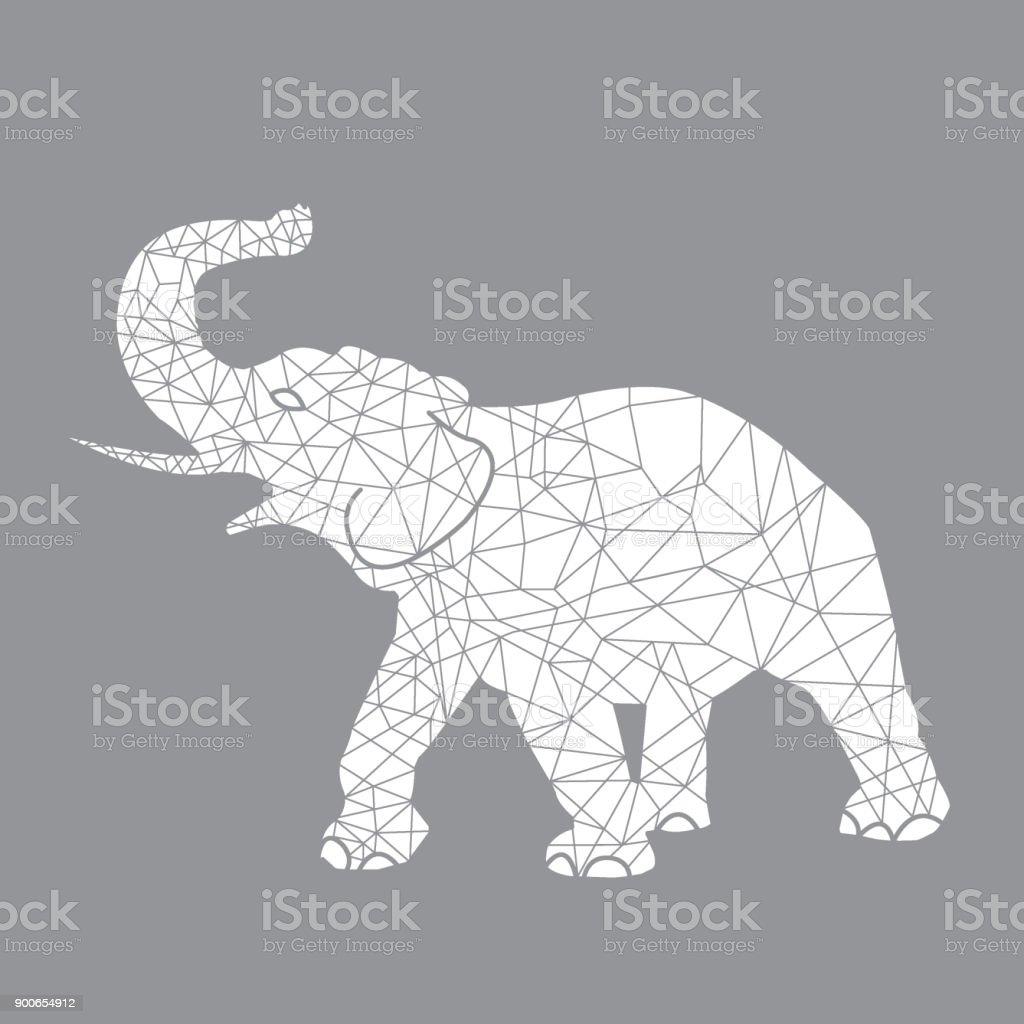 Geometric Animal Elephant Outline Stock Illustration - Download