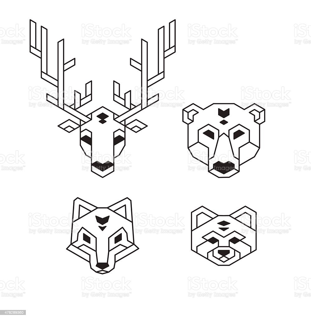 Geometric Animal Heads Stock Illustration - Download Image ...