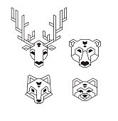 Geometric animal heads