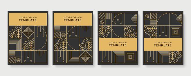 Geometric Art Deco geometric pattern with label, gold on black background. Golden, vintage, retro, autumn, winter, frame sign. Decorative abstract design, golden motif, elegant line luxury foil lines