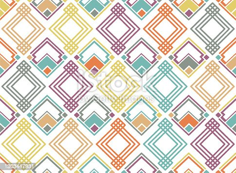 Geometric art decoration seamless vector designs. Geometric patterns to create background or wallpaper designs, digital and print projects.