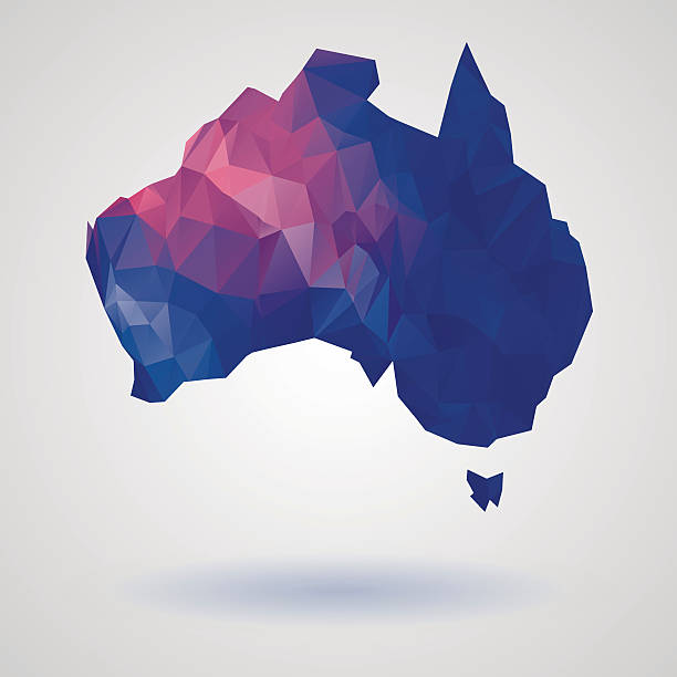 Geometric australia map vector art illustration