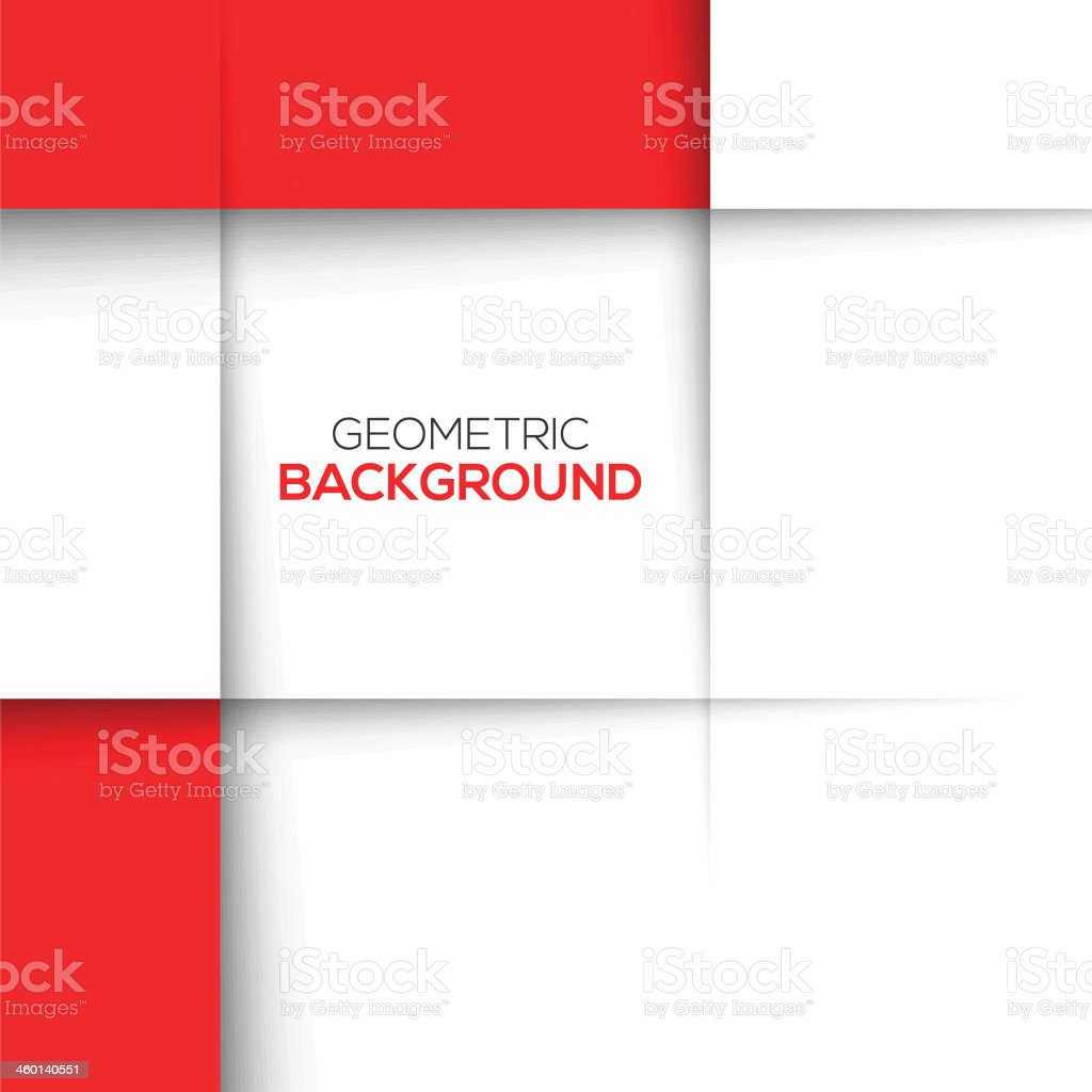 Geometric background composed of red and white rectangles vector art illustration