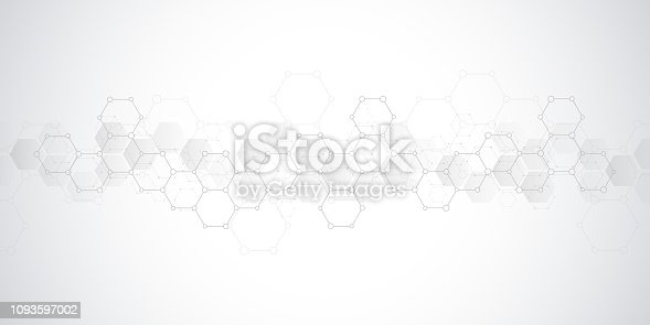 istock Geometric background texture with molecular structures and chemical engineering. Abstract background of hexagons pattern. 1093597002