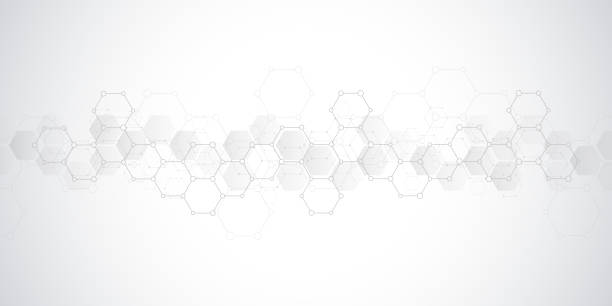Geometric background texture with molecular structures and chemical engineering. Abstract background of hexagons pattern. Geometric background texture with molecular structures and chemical engineering. Abstract background of hexagons pattern. Vector illustration for medical or scientific and technological modern design biological cell stock illustrations