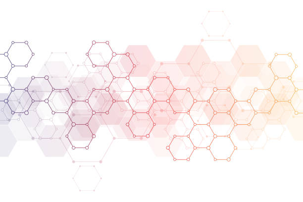 geometric background texture with molecular structures and chemical engineering. abstract background of hexagons pattern. - cząsteczka stock illustrations
