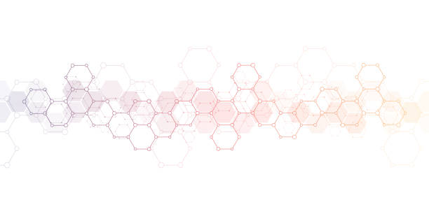 Geometric background texture with molecular structures and chemical engineering. Abstract background of hexagons pattern. Vector illustration for medical or scientific and technological modern design. Geometric background texture with molecular structures and chemical engineering. Abstract background of hexagons pattern. Vector illustration for medical or scientific and technological modern design molecular structure stock illustrations