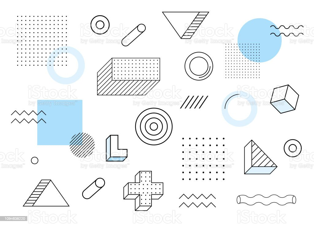 Geometric background. Universal trend halftone geometric shapes set juxtaposed with blue elements composition. Modern vector illustration royalty-free geometric background universal trend halftone geometric shapes set juxtaposed with blue elements composition modern vector illustration stock illustration - download image now