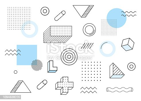 Geometric background. Universal trend halftone geometric shapes set juxtaposed with blue elements composition. Modern vector illustration.