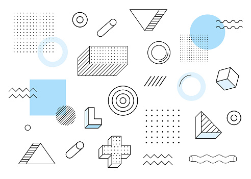 Geometric background. Universal trend halftone geometric shapes set juxtaposed with blue elements composition. Modern vector illustration clipart
