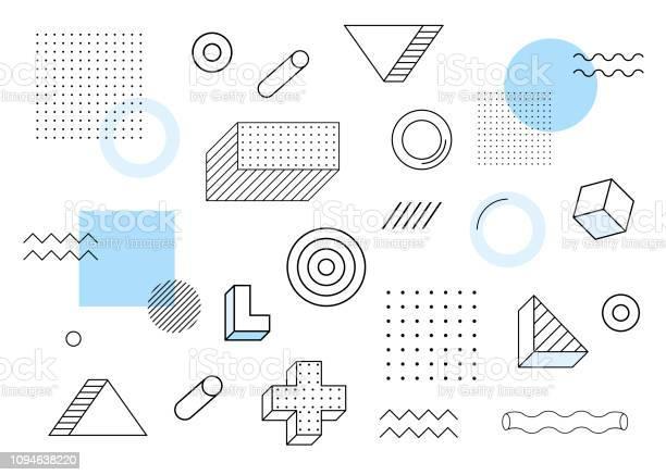 Geometric Background Universal Trend Halftone Geometric Shapes Set Juxtaposed With Blue Elements Composition Modern Vector Illustration - Arte vetorial de stock e mais imagens de 1990-1999