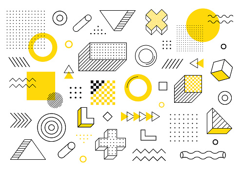 Geometric background. Universal trend halftone geometric shapes set juxtaposed with yellow elements composition. Modern vector illustration