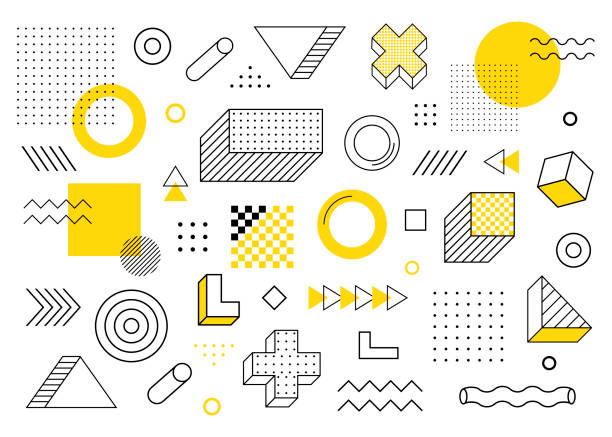 Geometric background. Universal trend halftone geometric shapes set juxtaposed with yellow elements composition. Modern vector illustration Geometric background. Universal trend halftone geometric shapes set juxtaposed with yellow elements composition. Modern vector illustration. leisure games stock illustrations