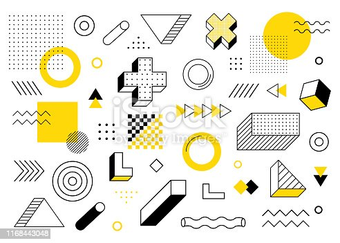 Geometric background. Universal trend halftone geometric shapes set juxtaposed with yellow elements composition. Modern vector illustration.