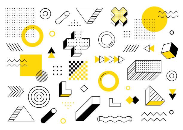 기하학적 배경입니다. 유니버설 트렌드 하프 톤 기하학적 모양은 노란색 요소 구성과 나란히 설정합니다. 현대 벡터 일러스트레이션 - 모던 양식 stock illustrations