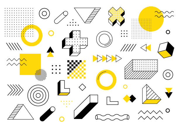geometric background. universal trend halftone geometric shapes set juxtaposed with yellow elements composition. modern vector illustration - fashion stock illustrations