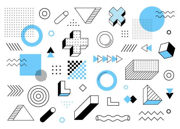 기하학적 배경입니다. 유니버설 트렌드 하프 톤 기하학적 모양은 파란색 요소 구성과 나란히 설정합니다. 현대 벡터 일러스트레이션 - 모던 양식 stock illustrations