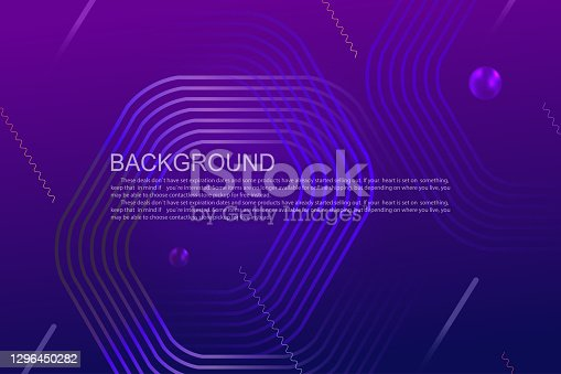 istock Geometric background with a gradient of blue and purple colors, polygonal frames, oblique stripes 1296450282