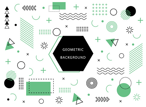 geometric background with abstract element shapes. Graphic minimal texture for holiday poster, card, social media. Abstract pattern with circle, halftone dots. Geometry banner. vector