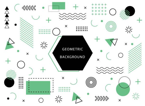 具有抽象元素形狀的幾何背景。用於假日海報、卡片、社交媒體的圖形最小紋理。抽象圖案與圓形,半色調點。幾何橫幅。向量 - 材料 幅插畫檔、美工圖案、卡通及圖標