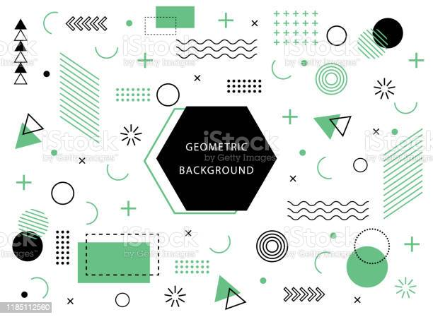 Geometric Background With Abstract Element Shapes Graphic Minimal Texture For Holiday Poster Card Social Media Abstract Pattern With Circle Halftone Dots Geometry Banner Vector - Arte vetorial de stock e mais imagens de Abstrato