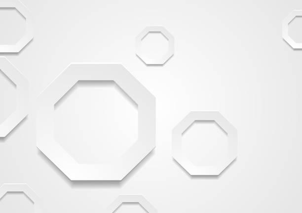 stockillustraties, clipart, cartoons en iconen met geometrische achtergrond met grijs papier achthoeken - achthoek