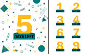 geometric background with number days left countdown 1, 2, 3, 4, 5, 6, 7, 8, 9. Design template for post, blog of social network, media. Flat isolated layout with countdown. vector eps10