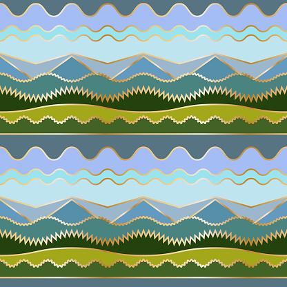 Geometric background with stylized landscape