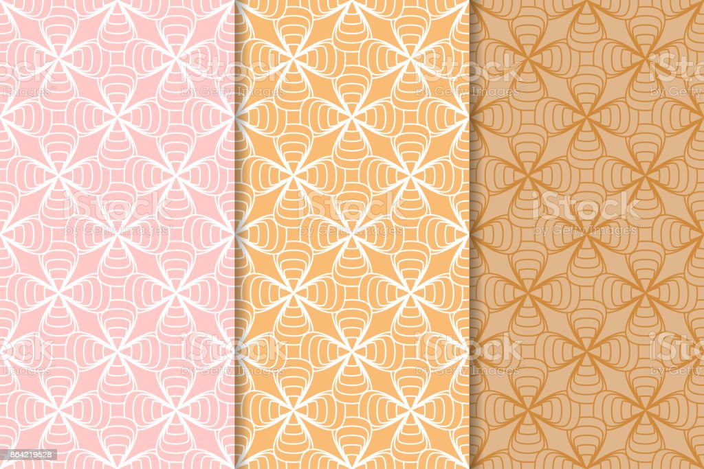 Geometric backgrounds. Orange seamless wallpapers. Colored set royalty-free geometric backgrounds orange seamless wallpapers colored set stock vector art & more images of art product