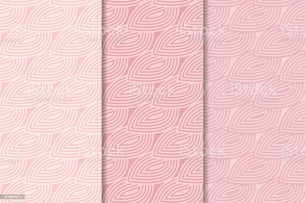 Pale Pink Vertical Seamless Wallpapers Colored Set Royalty Free Geometric Backgrounds