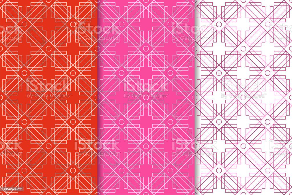 Geometric backgrounds. Red seamless wallpapers. Colored set royalty-free geometric backgrounds red seamless wallpapers colored set stock vector art & more images of art product
