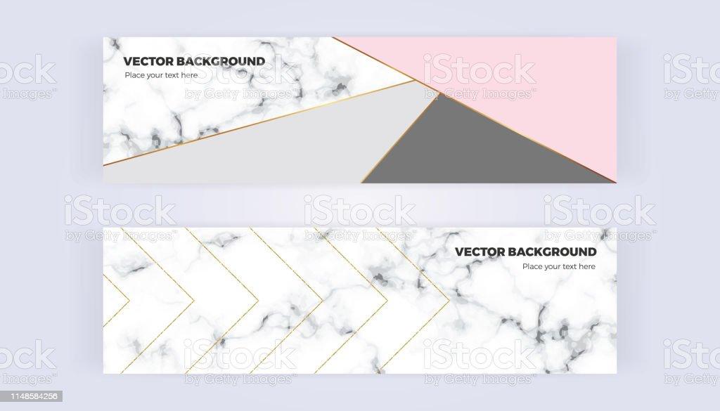 Ilustración De Banner Geométrico En Oro Glitter Gris Rosa
